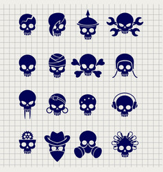 Skull icons on notebook page vector