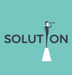 solution concept with businessman and telescope vector image