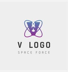 Space force logo design v initial galaxy rocket vector