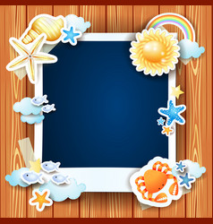 summer background with photo frame and shells vector image