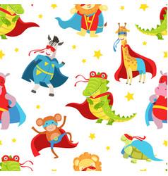 superhero animals seamless pattern cute baby vector image