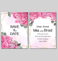 template for wedding invitation peony flowers vector image