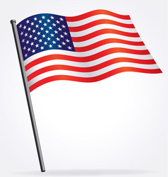 usa flag flying waving on flag pole vector image