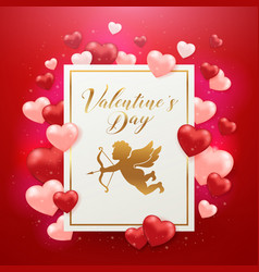 valentines day card with cupid and hearts vector image
