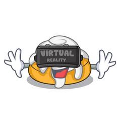 Virtual reality cinnamon roll mascot cartoon vector