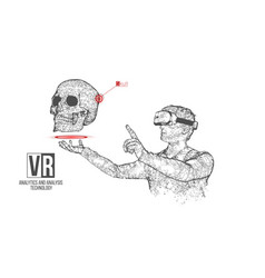 vr wireframe headset man with skull banner vector image