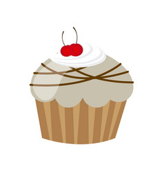 White muffin with cherrys and chocolate icon vector