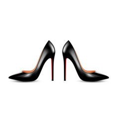 women black leather high heel shoes vector image