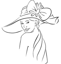 young woman with hat - black outline vector image