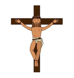 crucified jesus cartoon vector image