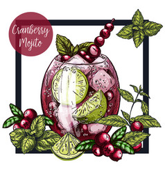 Square framed card with cranberry mojito vector