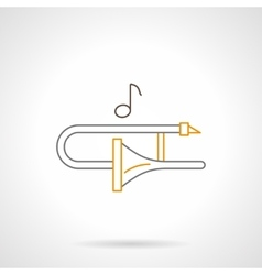 Trombone melody flat line icon vector image
