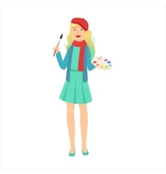 Woman Artist Painter With Paintbrush And Palette vector image vector image