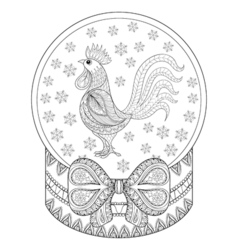 zentangle Christmas snow globe with rooster vector image