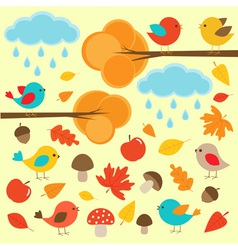 Birds in autumn forest vector image vector image