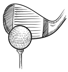 Doodle golf ball club vector
