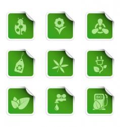 eco stickers vector image vector image
