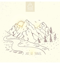 Mountain silhouette travel vector
