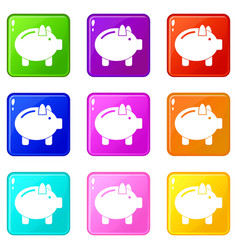 piggy bank icons 9 set vector image vector image