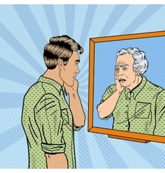 Pop Art Shocked Man Looking at Older Himself vector image vector image