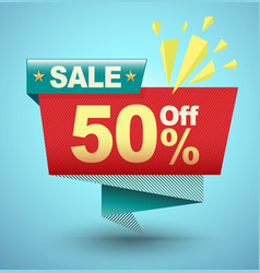 sale banner origami paper style vector image vector image