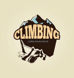 vintage mountan climbling logo with person vector image