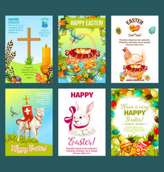 easter holidays cartoon greeting card set vector image vector image
