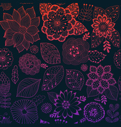 flower pattern colorful seamless botanic vector image vector image