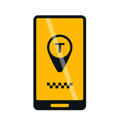 Mobile phone online taxi icon vector