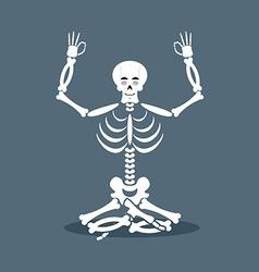 Skeleton meditating dead yoga status of nirvana vector