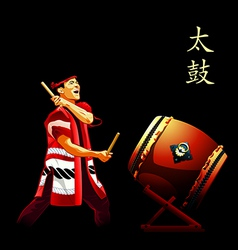Taiko drums show poster vector image vector image