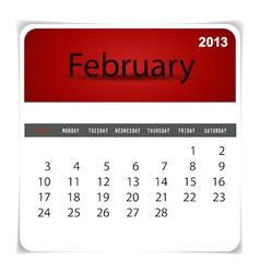 2013 calendar February vector image vector image