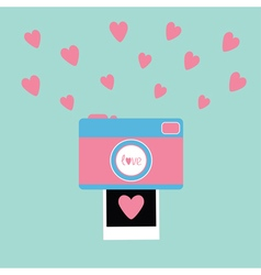 Camera Instant photo in flat design style Pink vector image