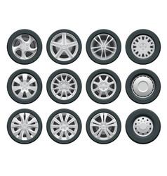 car wheels set for design auto service shop vector image