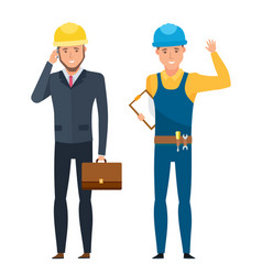 chief engineer for construction in working suits vector image