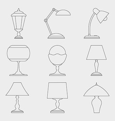 Icon set of Lamps vector image