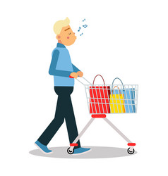 young blonde man in casual clothes walking with a vector image vector image