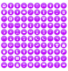 100 flowers icons set purple vector