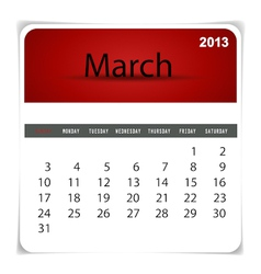 2013 calendar March vector image