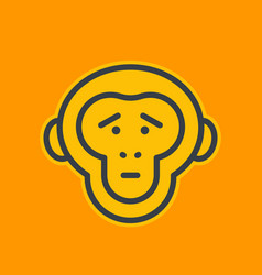 ape sad chimp linear icon vector image