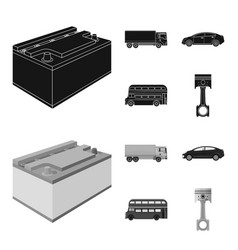 Battery and transport blackmonochrom icons in set vector