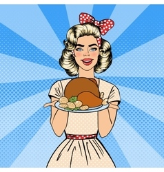 beautiful woman holding a plate with roast turkey vector image