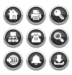 Black internet buttons vector