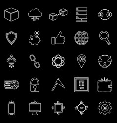Blockchain line icons on black background vector