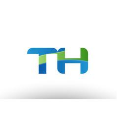 Blue green th t h alphabet letter logo vector