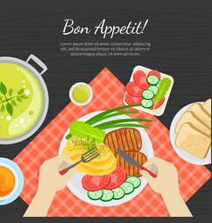 bon appetit banner template top view person vector image