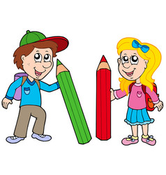 boy and girl with giant crayons vector image