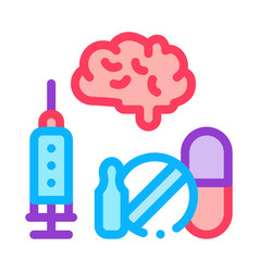 brain syringe and pills icon outline vector image