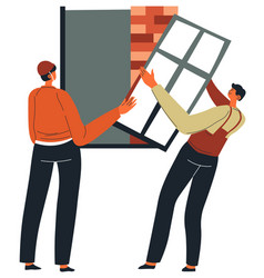 builders installing window at construction site vector image