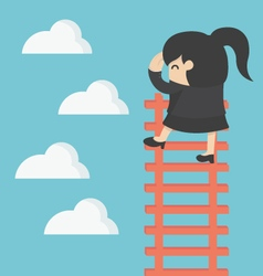 Business woman on ladder Looking for success vector